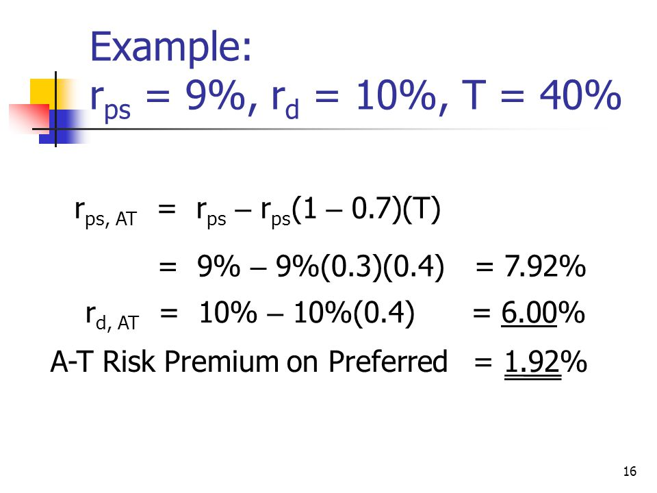 Example: rps = 9%, rd = 10%, T = 40%