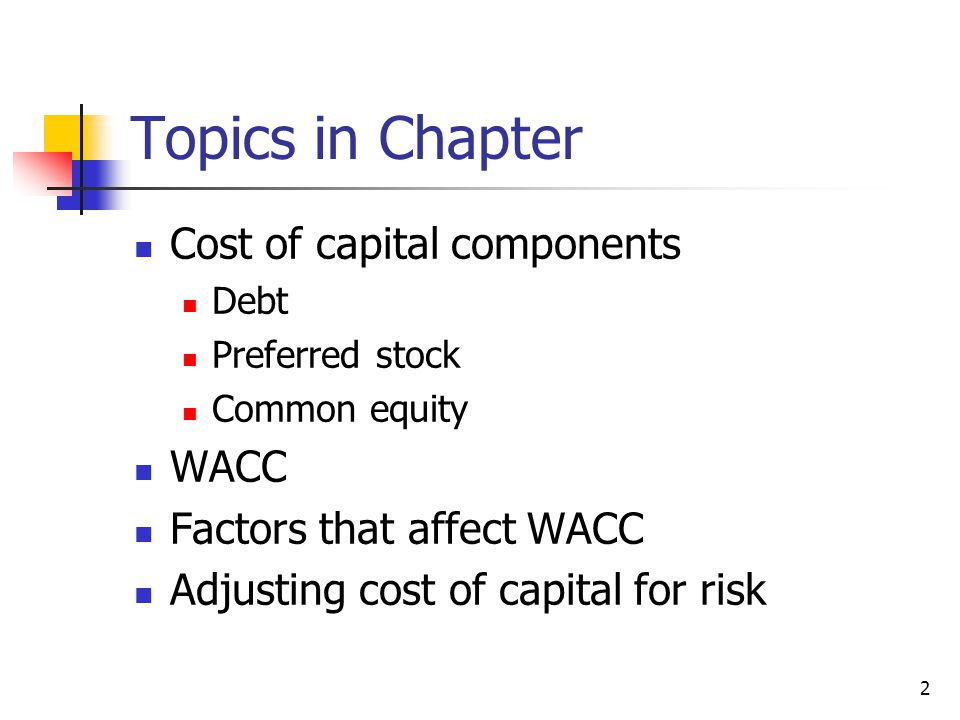 Topics in Chapter Cost of capital components WACC