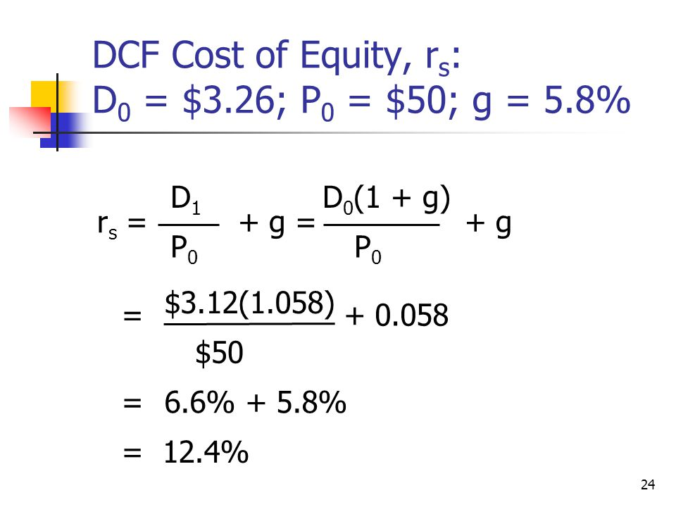 DCF Cost of Equity, rs: D0 = $3.26; P0 = $50; g = 5.8%