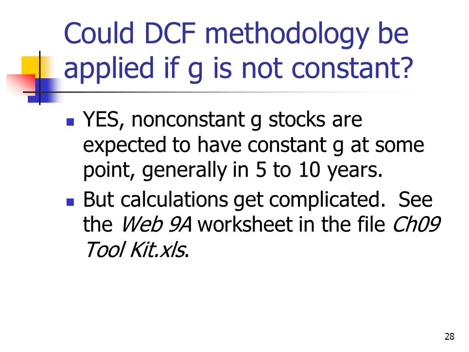 Could DCF methodology be applied if g is not constant