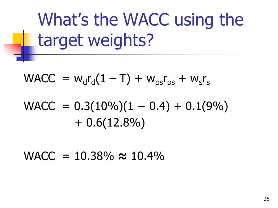 What's the WACC using the target weights