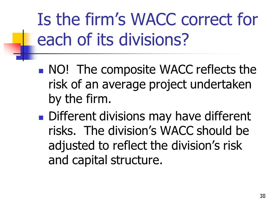 Is the firm's WACC correct for each of its divisions