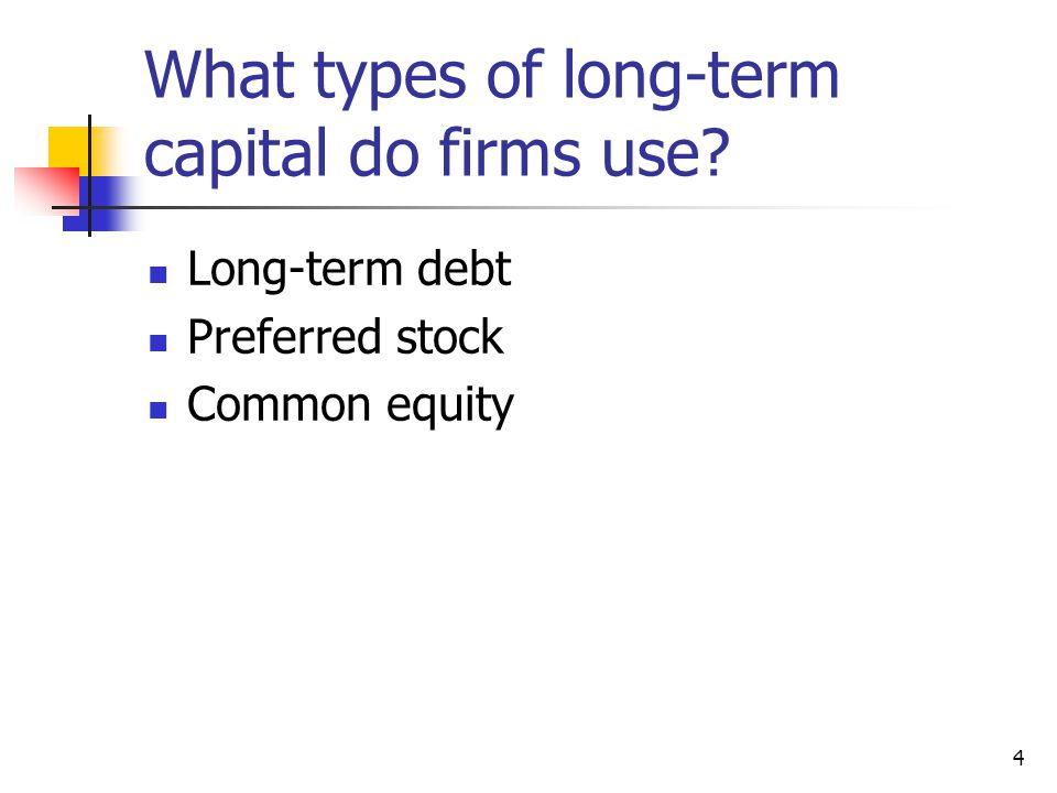 What types of long-term capital do firms use