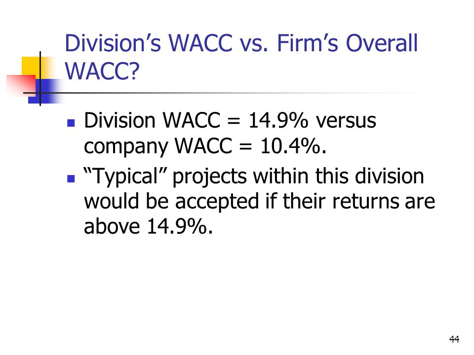 Division's WACC vs. Firm's Overall WACC