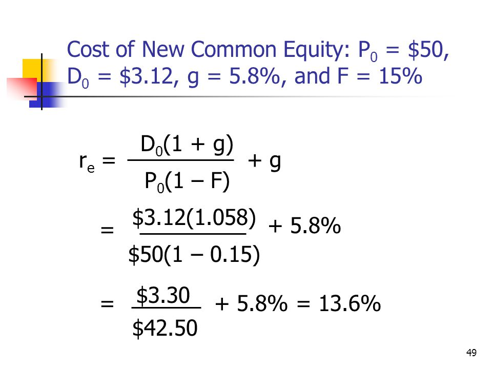 Cost of New Common Equity: P0 = $50, D0 = $3.12, g = 5.8%, and F = 15%