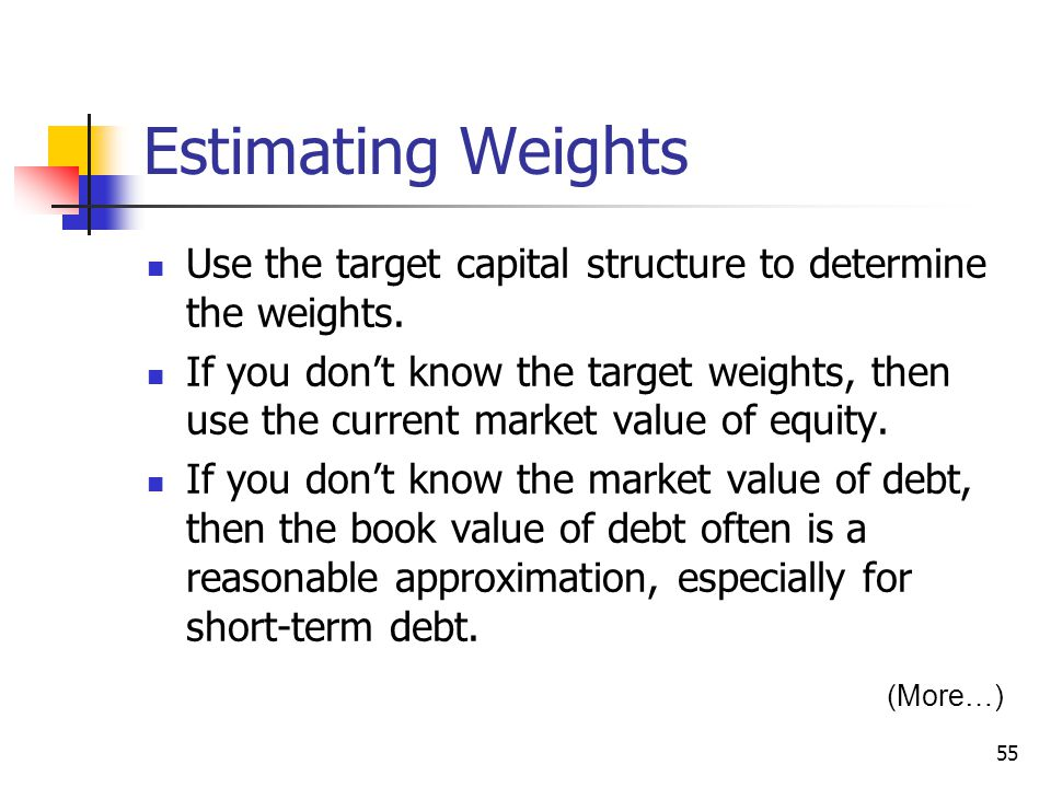 Estimating Weights Use the target capital structure to determine the weights.