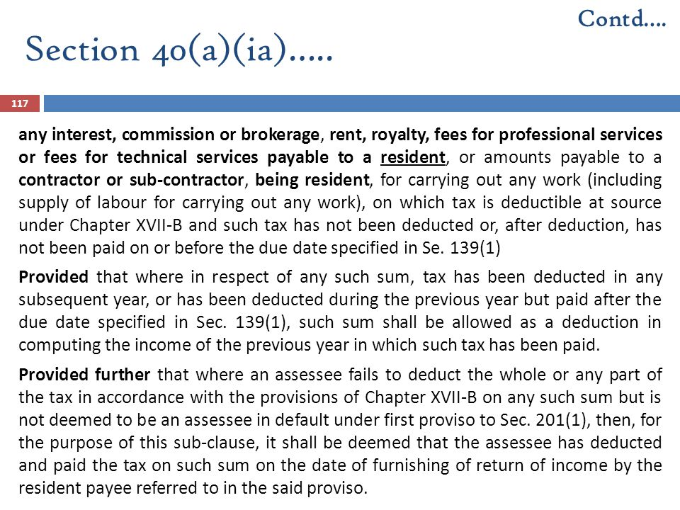 Section 40(a)(ia)….. Contd….