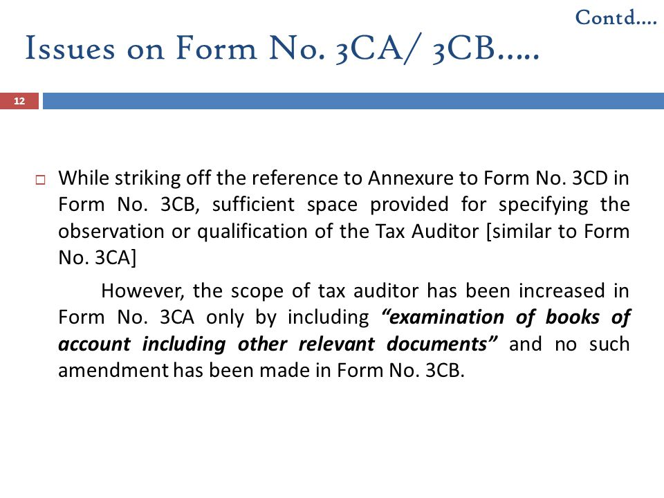 Issues on Form No. 3CA/ 3CB…..