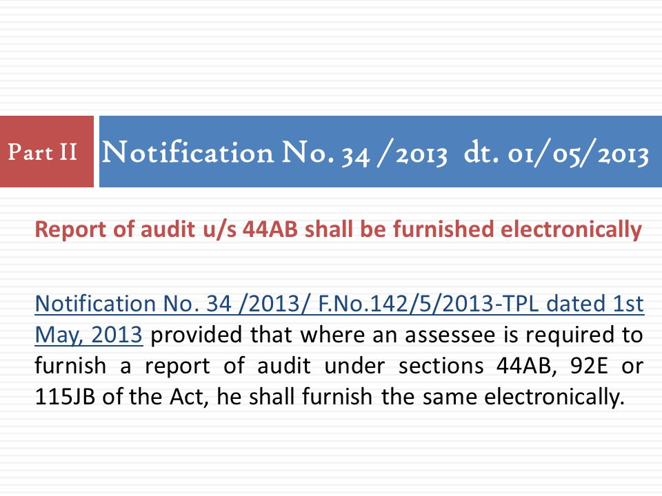 Notification No. 34 /2013 dt. 01/05/2013 Part II