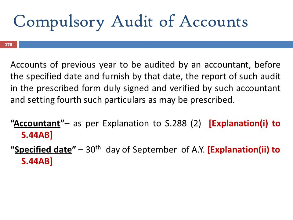 Compulsory Audit of Accounts
