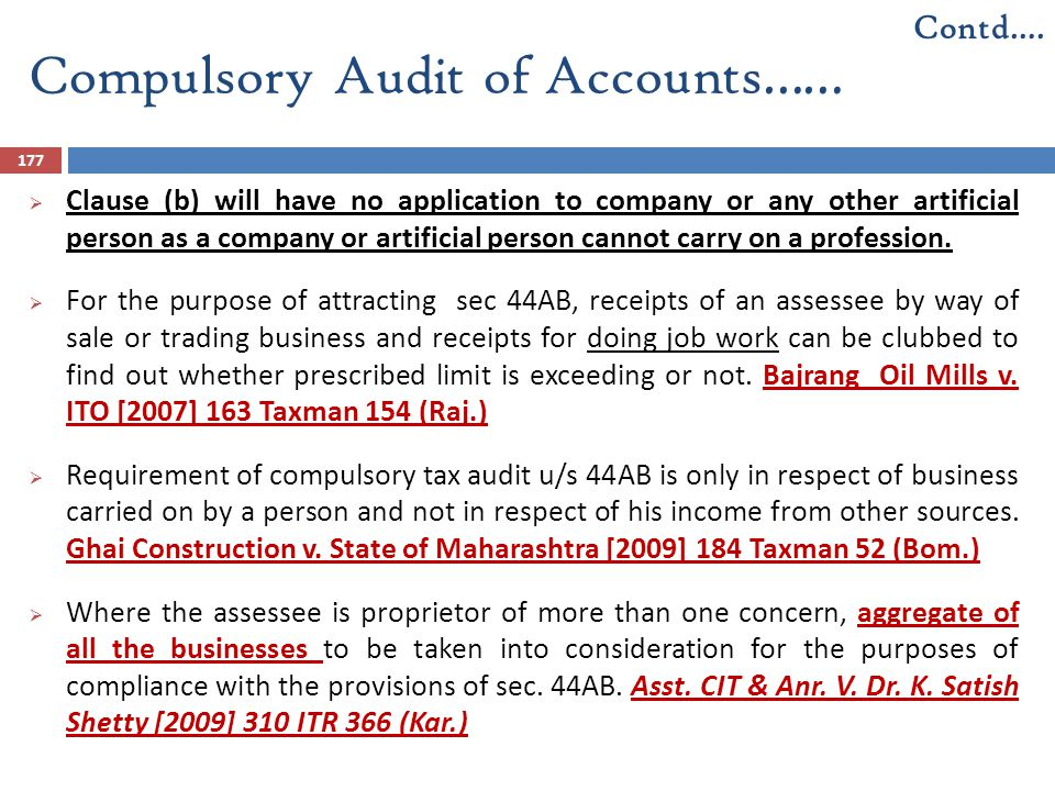 Compulsory Audit of Accounts……