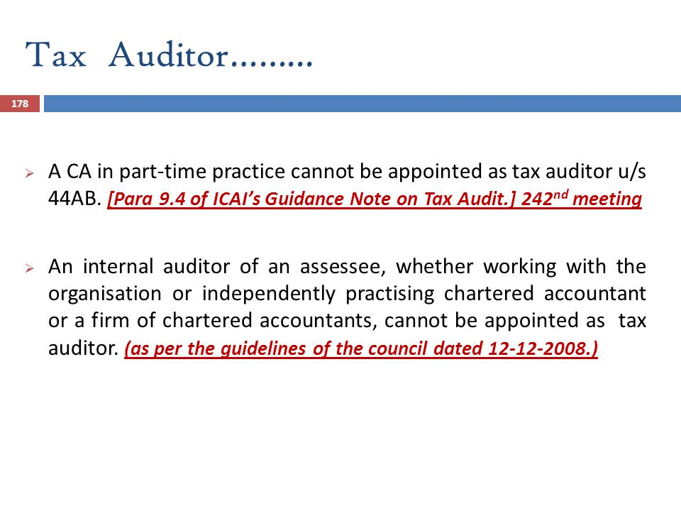Tax Auditor……...