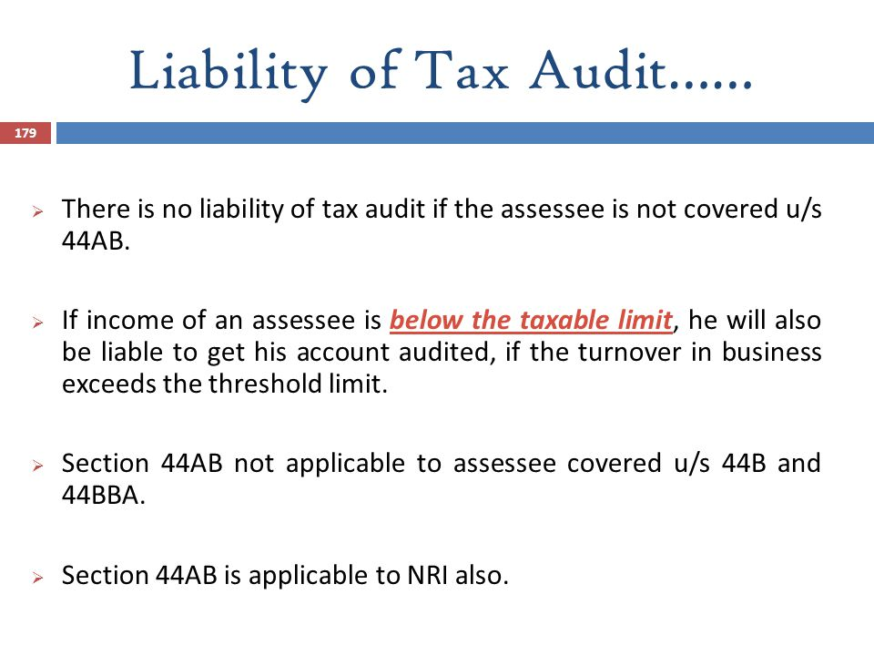 Liability of Tax Audit……