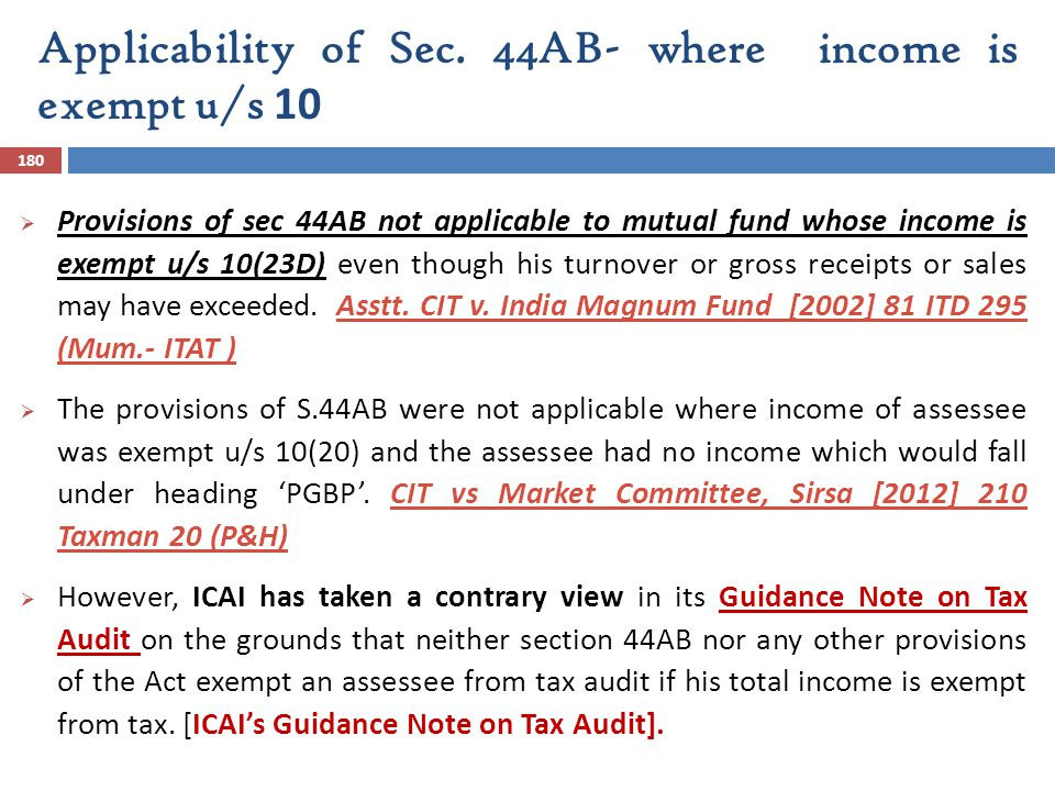 Applicability of Sec. 44AB- where income is exempt u/s 10