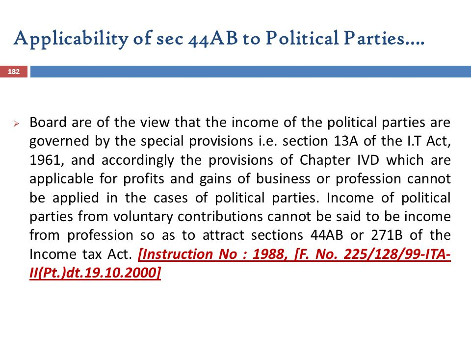 Applicability of sec 44AB to Political Parties….