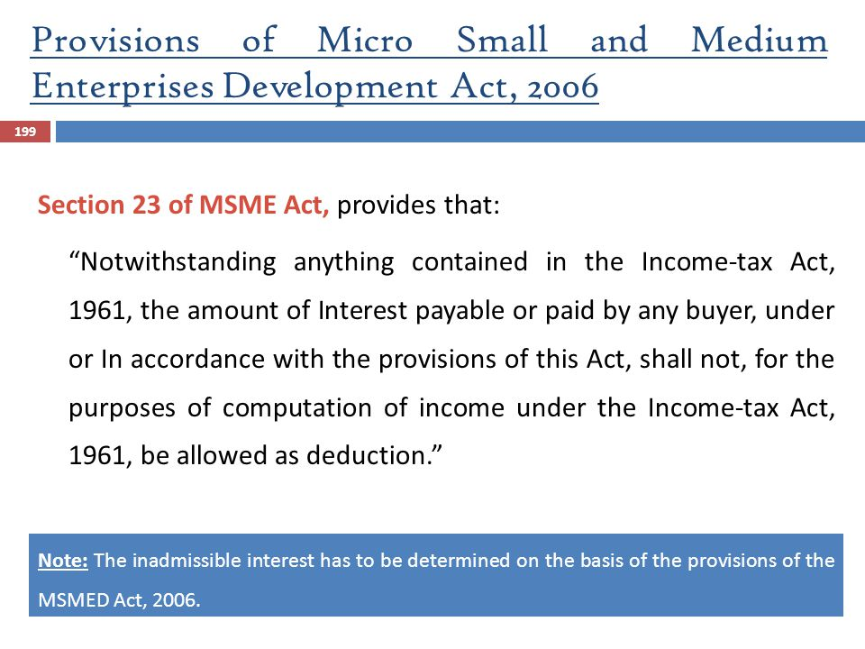 Provisions of Micro Small and Medium Enterprises Development Act, 2006