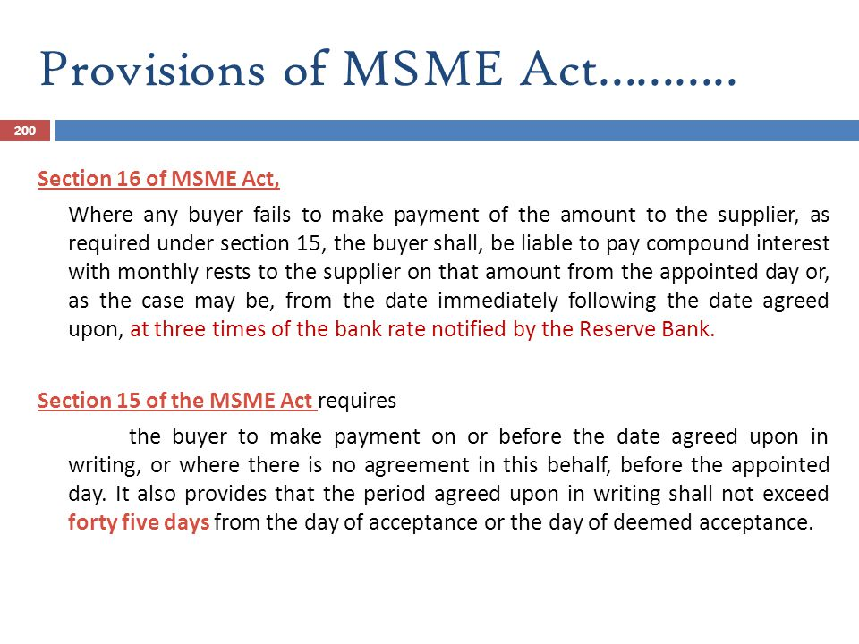 Provisions of MSME Act………..