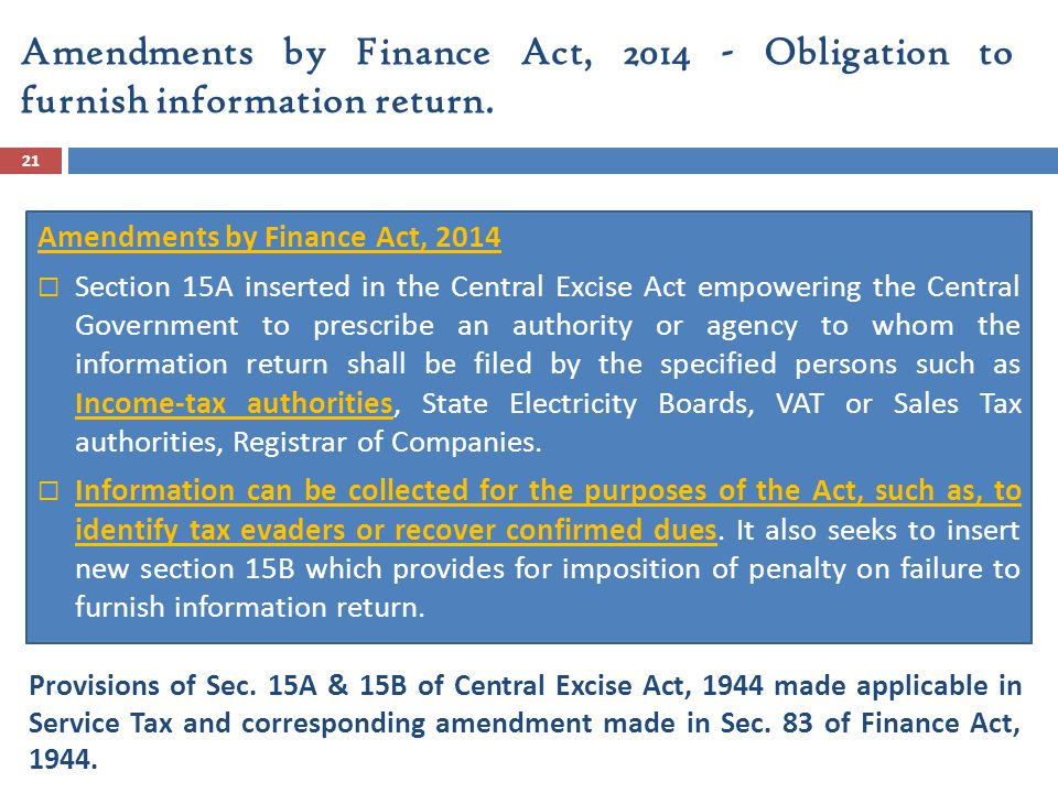 Amendments by Finance Act, 2014 - Obligation to furnish information return.