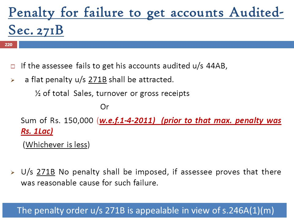 Penalty for failure to get accounts Audited- Sec. 271B