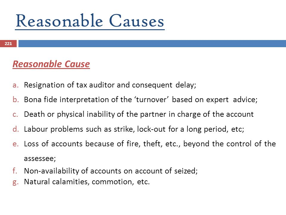 Reasonable Causes Reasonable Cause