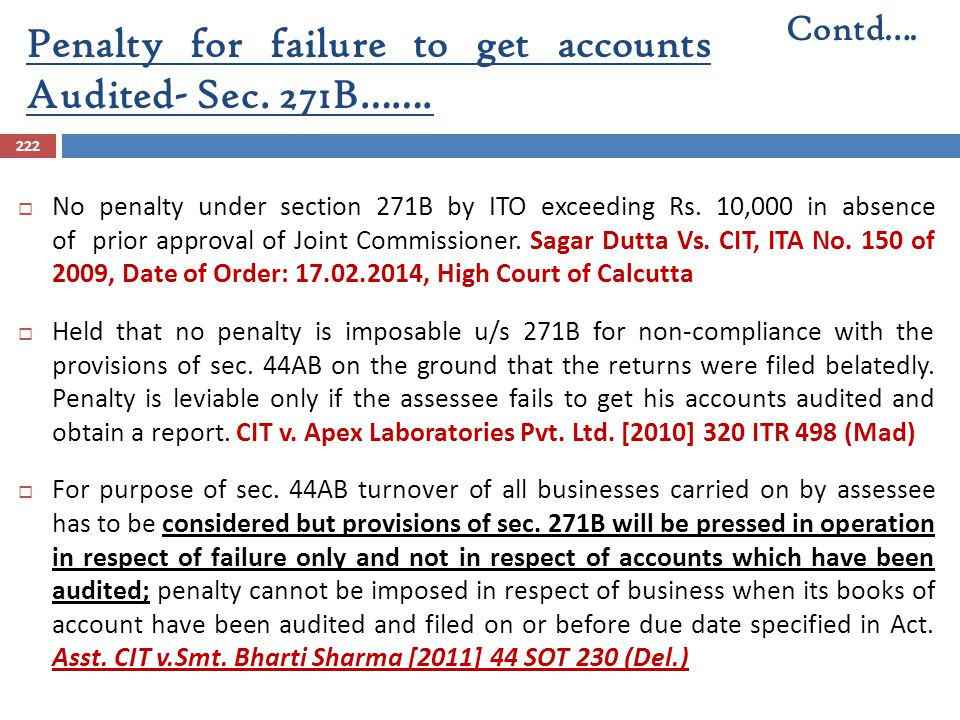 Penalty for failure to get accounts Audited- Sec. 271B…….