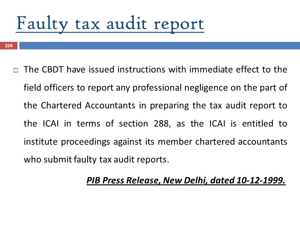 Faulty tax audit report