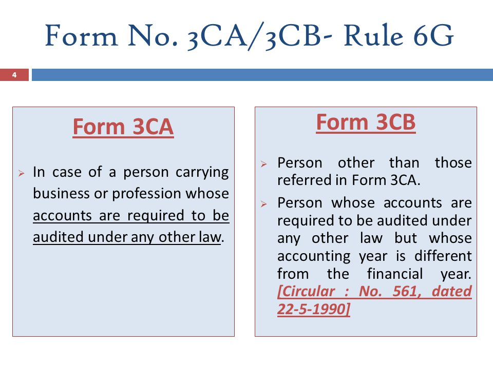 Form No. 3CA/3CB- Rule 6G Form 3CA Form 3CB