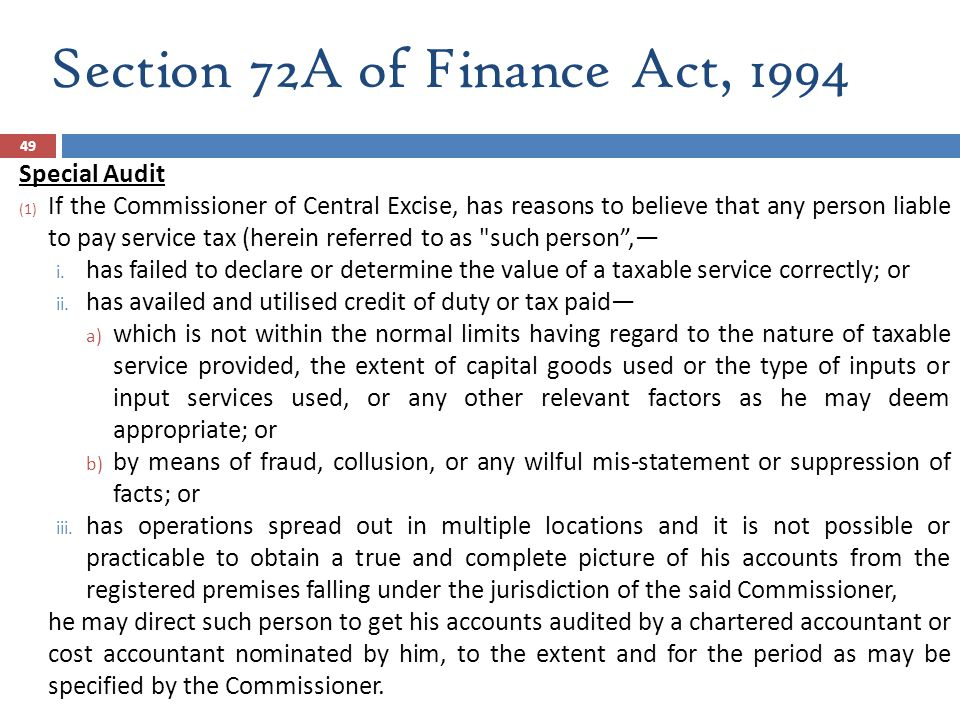 Section 72A of Finance Act, 1994