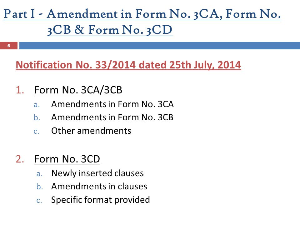 Part I - Amendment in Form No. 3CA, Form No. 3CB & Form No. 3CD