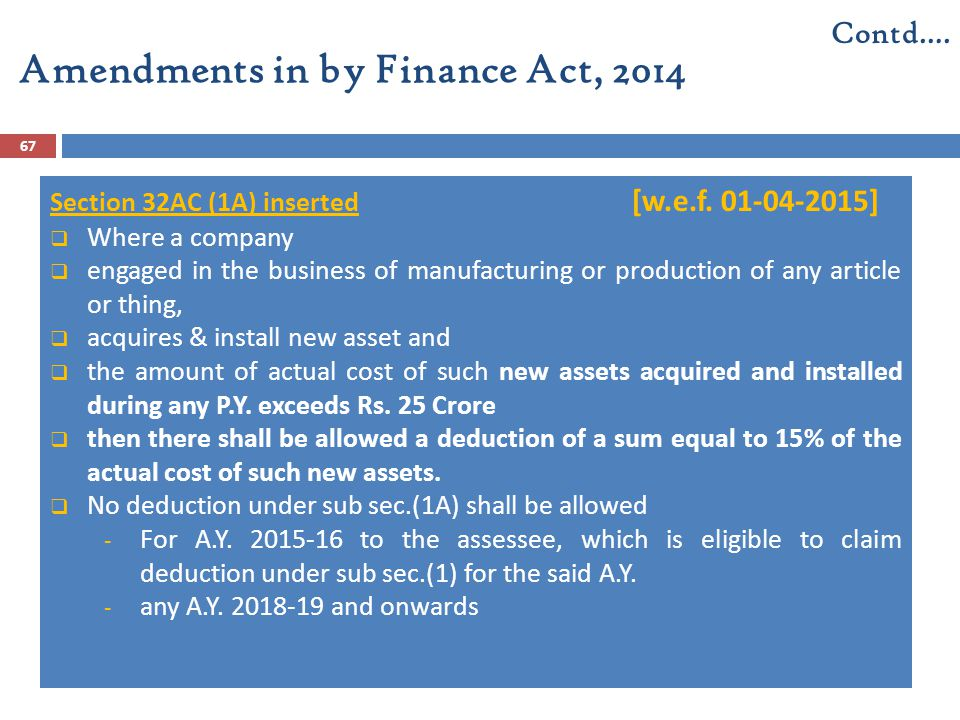 Amendments in by Finance Act, 2014