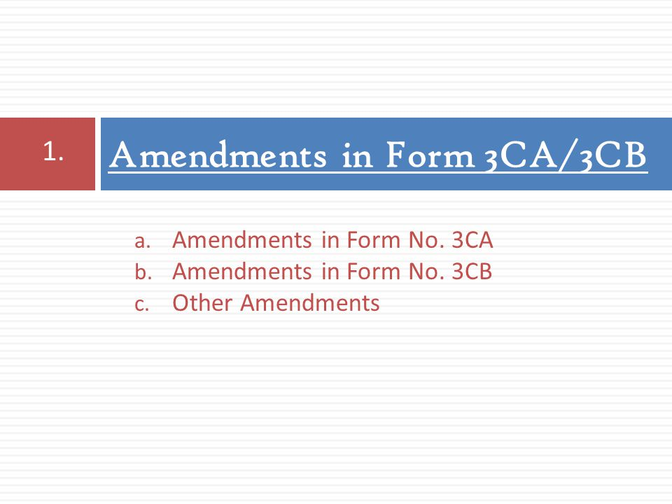 Amendments in Form 3CA/3CB