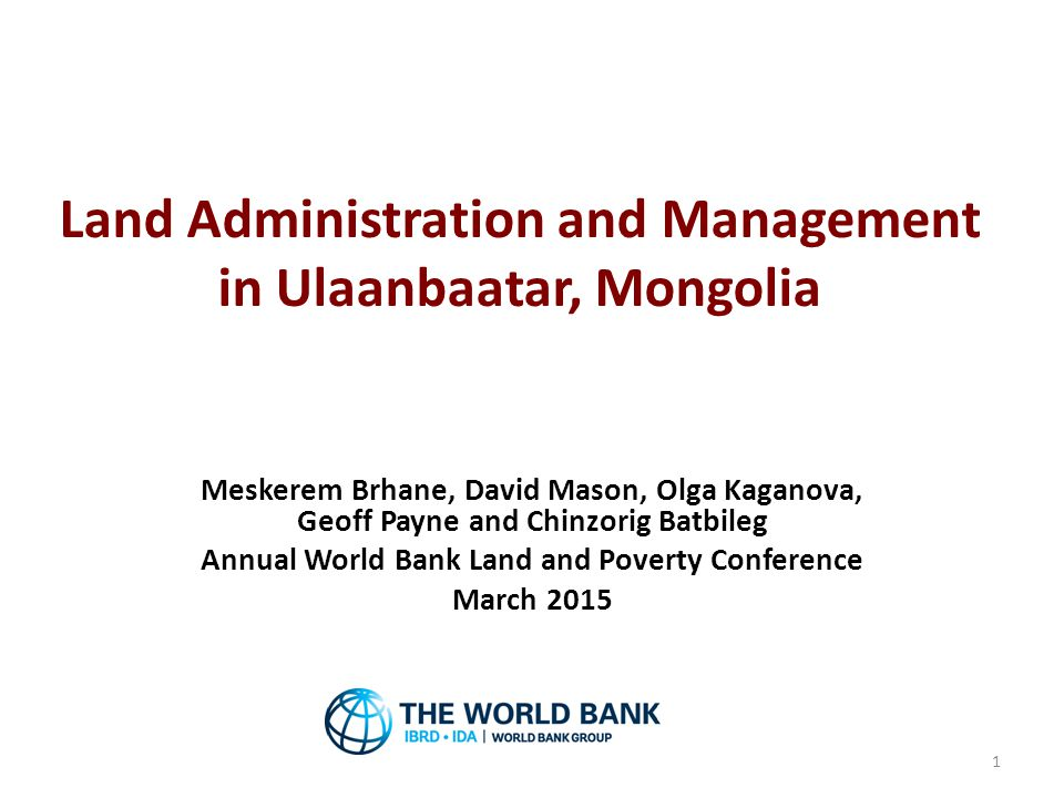 Land Administration and Management in Ulaanbaatar, Mongolia
