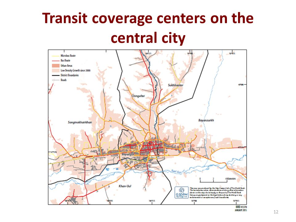 Transit coverage centers on the central city