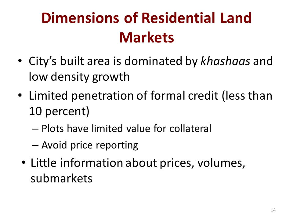 Dimensions of Residential Land Markets