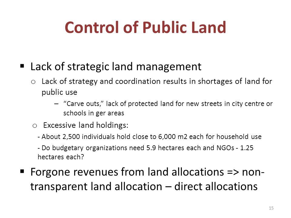 Control of Public Land Lack of strategic land management