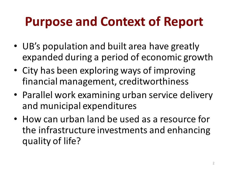 Purpose and Context of Report