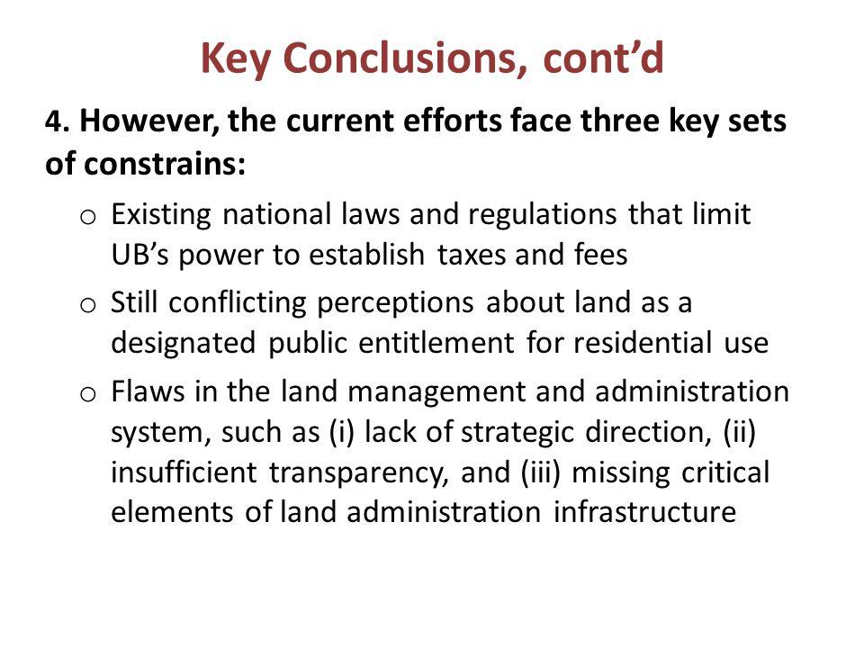 Key Conclusions, cont'd