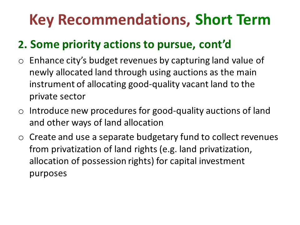 Key Recommendations, Short Term