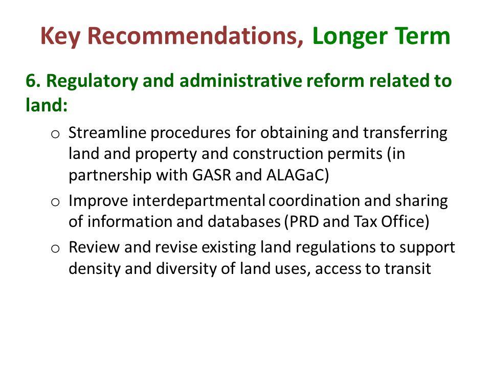 Key Recommendations, Longer Term