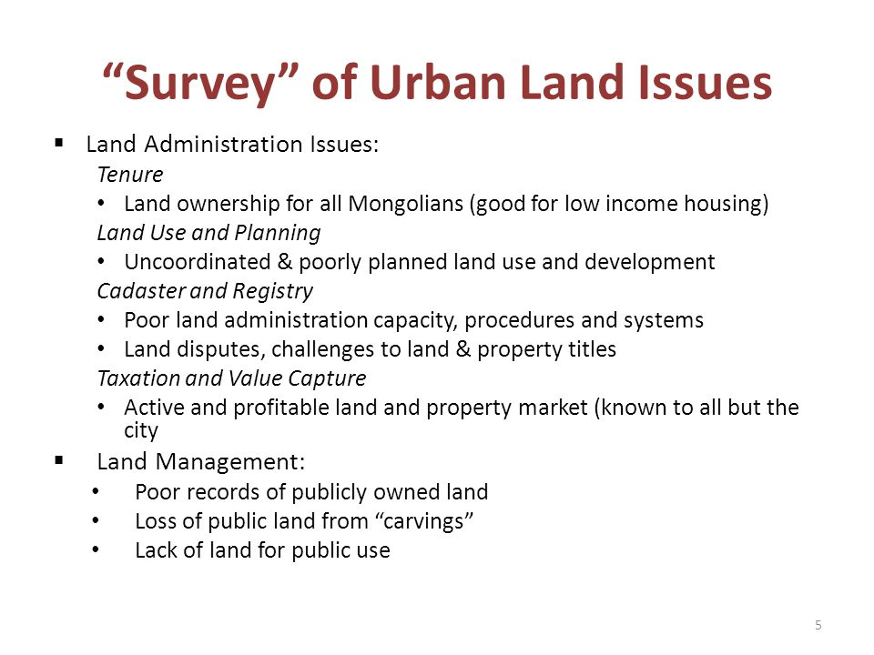 Survey of Urban Land Issues