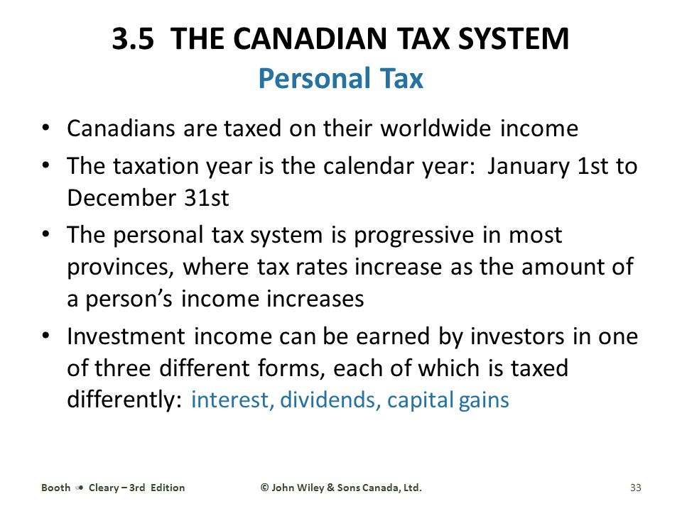 3.5 THE CANADIAN TAX SYSTEM Personal Tax