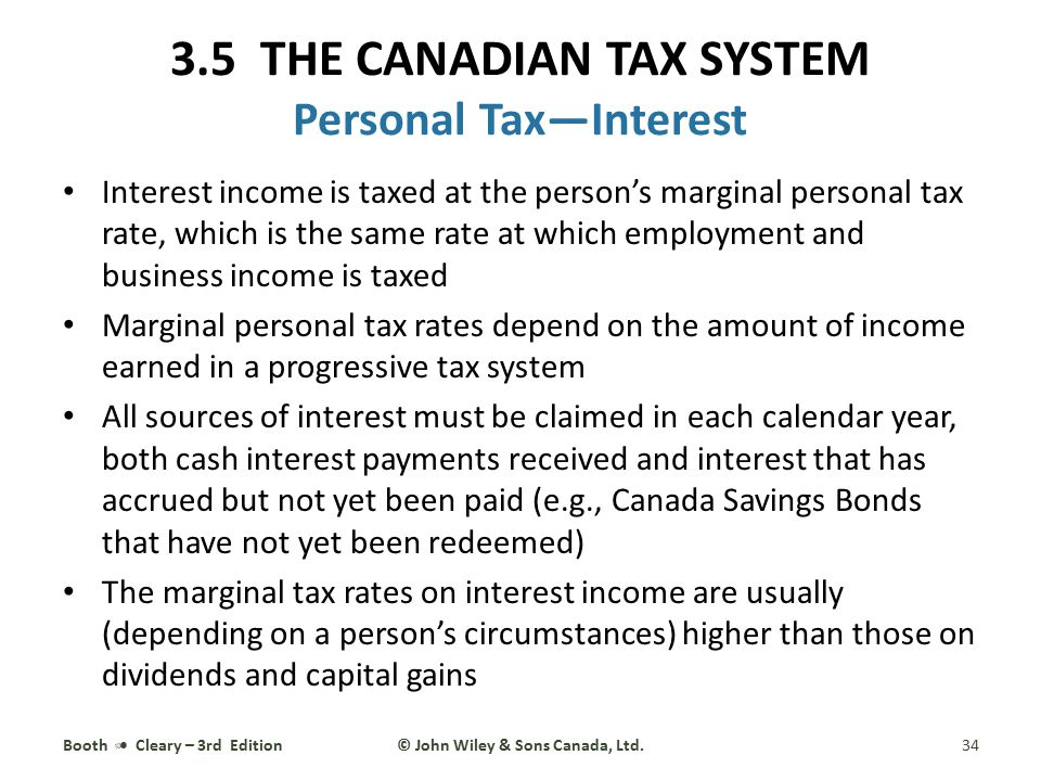 3.5 THE CANADIAN TAX SYSTEM Personal Tax—Interest