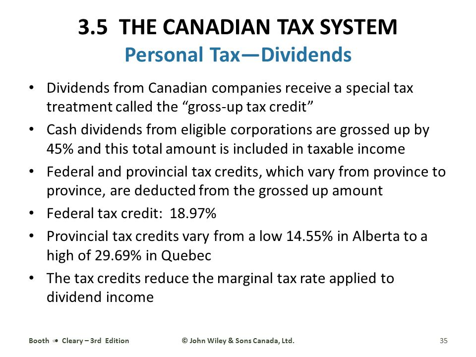 3.5 THE CANADIAN TAX SYSTEM Personal Tax—Dividends
