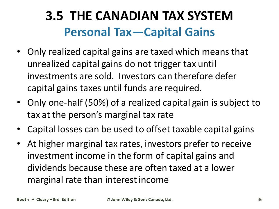 3.5 THE CANADIAN TAX SYSTEM Personal Tax—Capital Gains