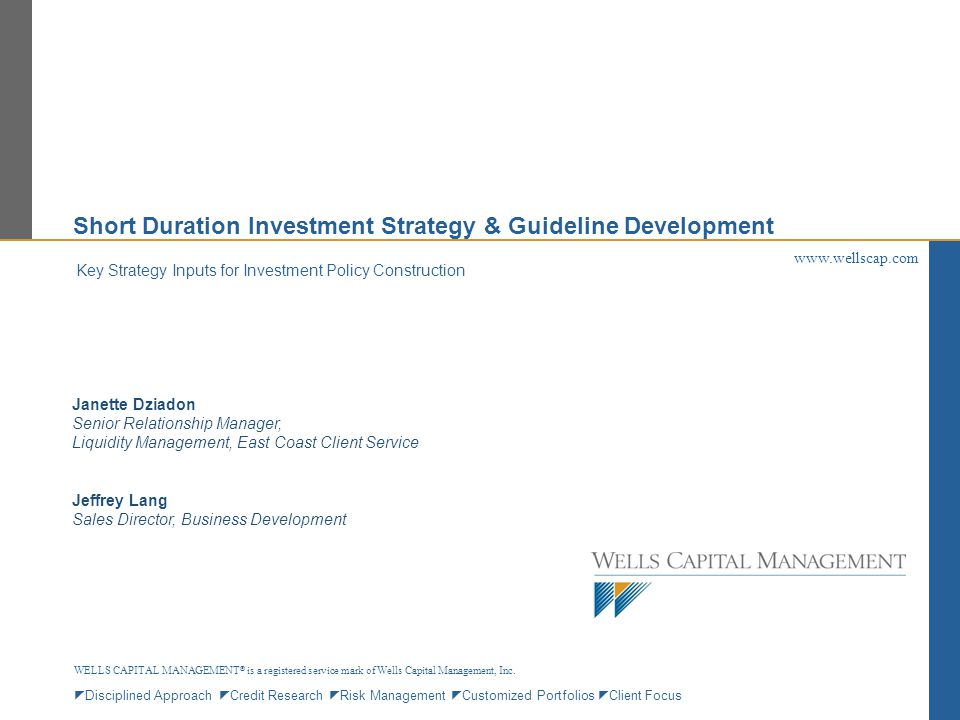 Short Duration Investment Strategy & Guideline Development