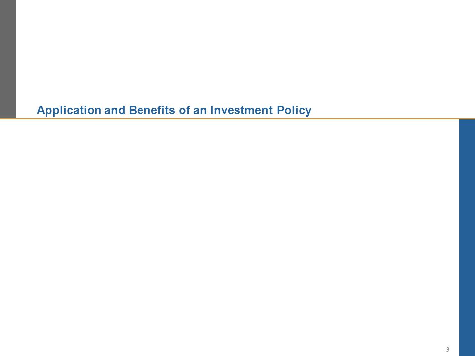 Application and Benefits of an Investment Policy