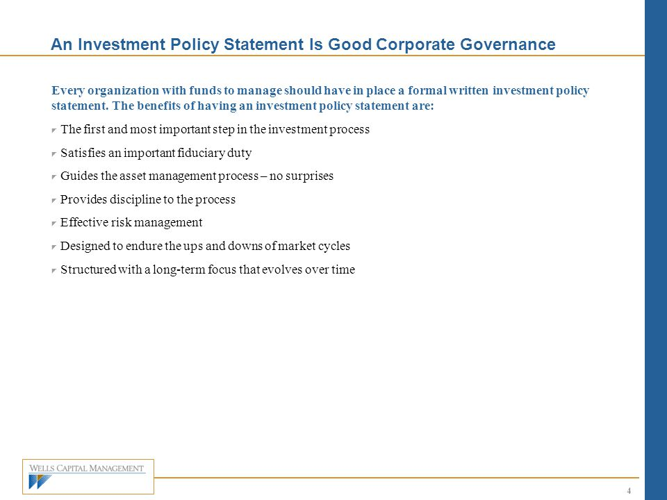 An Investment Policy Statement Is Good Corporate Governance