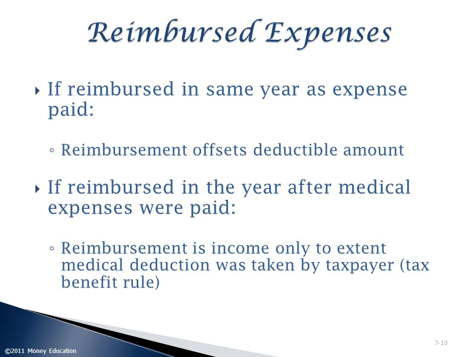 Reimbursed Expenses If reimbursed in same year as expense paid: