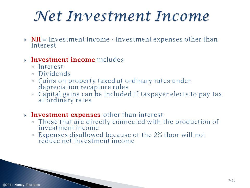 Net Investment Income NII = Investment income - investment expenses other than interest. Investment income includes.