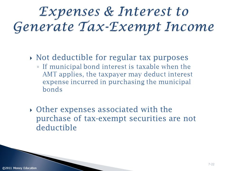 Expenses & Interest to Generate Tax-Exempt Income